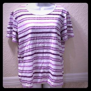 🔴5/$15 Christopher & Banks Purple Striped Shirt
